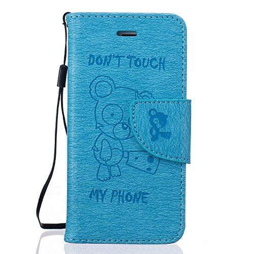 Für Apple iPhone 5 5G 5S / iPhone SE (4 Zoll) Tasche ZeWoo® Ledertasche Kunstleder Brieftasche Hülle PU Leder Schutzhülle Case Cover - BF069 / Blauer Bär