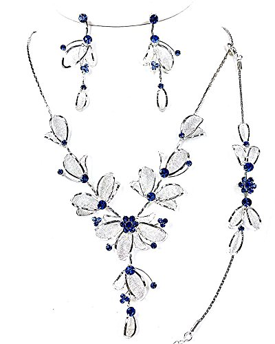 Christina Collection 3Pcs Crystal Rhinestone Metal Mesh Petal Necklace, Earrings & Bracelet set (Blue)