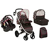 Hauck Malibu XL All-in-One Travel System, from Birth, Black and White (Car Seat, Carry Cot, Footmuff, Change Bag and Raincover with Dots)
