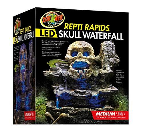 Terrarium Waterfall Reptile (Zoo Med Repti Rapids LED Skull Waterfall Natural Rock Reptiles Terrariums Medium)