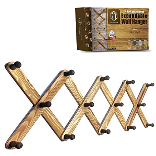 Mercurial Trade Expandable Wooden Coat Rack Hanger – Accordion Wall Mounted Pine Wood Hooks – Hand Made Vintage Expending Pegs – Hang Coat, Jacket, Hat, Leash, Towel, Scarf, Mug, Bag – Torched Wood