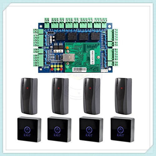 Generic Wiegand TCP IP Network Access Control Board Panel Controller For 4 Door Including 4 Reader & Touch Exit Button