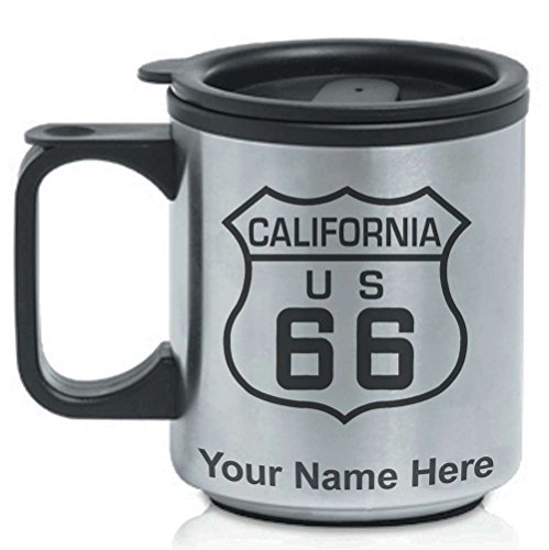Route 66 Mugs (Coffee Travel Mug - Route 66 California - Personalized Engraving Included)