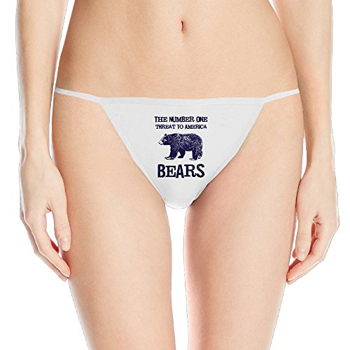 Women's Bears Threat Bikini Thongs Underwear Cotton