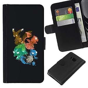 """A-type (Pekemon Equipo"""") Colorida Impresión Funda Cuero Monedero Caja Bolsa Cubierta Caja Piel Card Slots Para HTC One M7"""