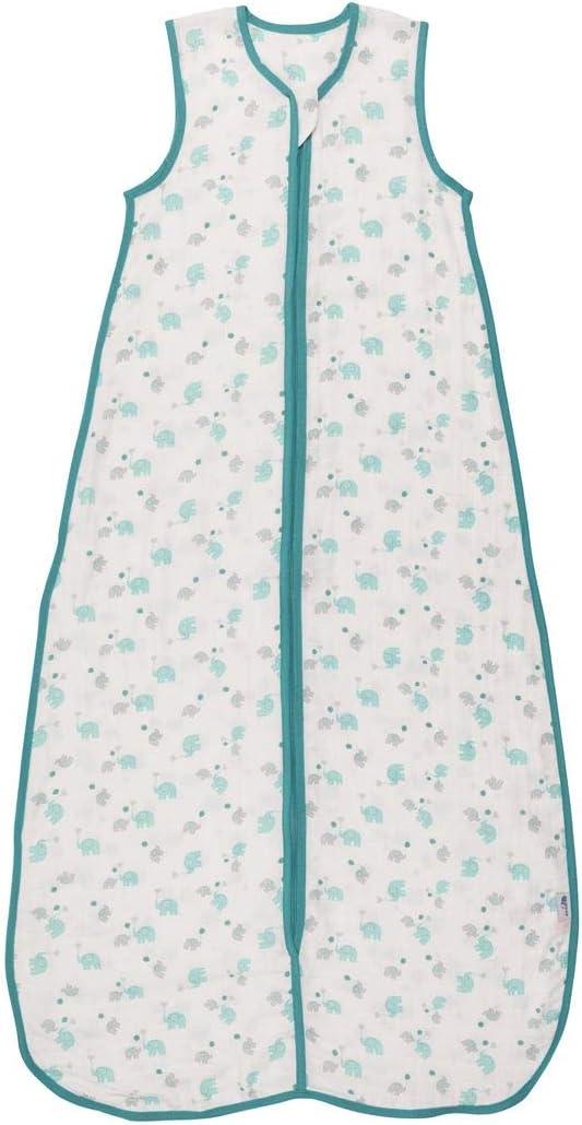 Slumbersac Saco de dormir de verano con pies 0.5 Tog Bamboo Muslin Blue Elephant 3-4 a/ños//110cm