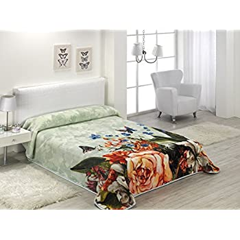 European - Made in Spain warm blanket Mora Gold Digital 220x240 Green Color 1 PLY