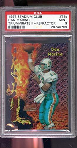 (1997 Topps Stadium Club Triumvirate II REFRACTOR #T1C Dan Marino Insert MINT PSA 9 Graded NFL Football Card)