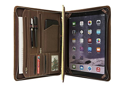 ZH Genuine Leather Business Portfolio | Personal Organizer | Padfolio | Leather Folder Padfolio Compact Case for iPad Air/iPad Pro/Microsoft Surface Pro with Letter Size (A4) Paper,Custom, Brown by ZH