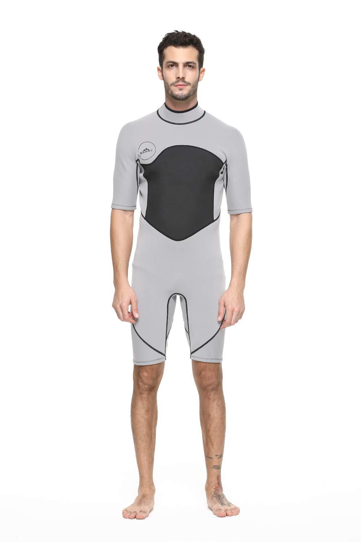 Unisex Short Sleeve 2MM Neoprene Wetsuit Men for Surfing One Piece Triathlon Scuba Diving Spearfishing Wetsuit Women Surfing (1069Gray, XXL) by Shorty Wetsuit