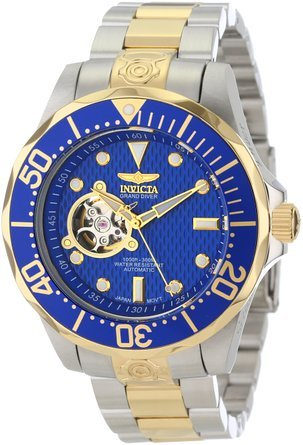 インビクタ Invicta Men`s 13706 Grand Diver Automatic Blue Textured Dial Two Tone Stainless Steel Watch 男性 メンズ