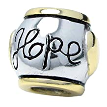 14k Gold Sterling Silver Hope Love Heart Bead For Pandora Troll European Charm Bracelets