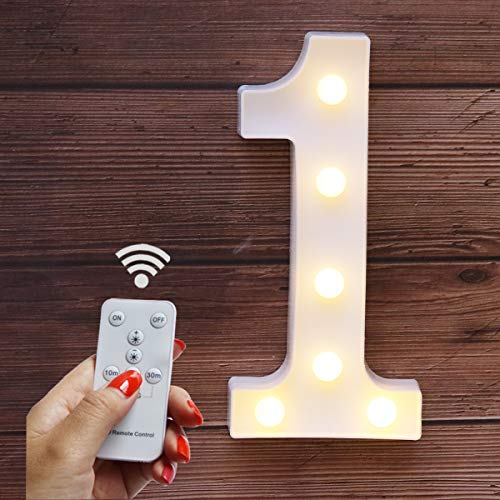 Elnsivo LED Marquee Letters Lights Alphabet Light Up Number Sign Remote Control Letter Lamp for Wedding Birthday Party Battery Powered Christmas Lamp Home Bar Decoration (Number 1-Remote -