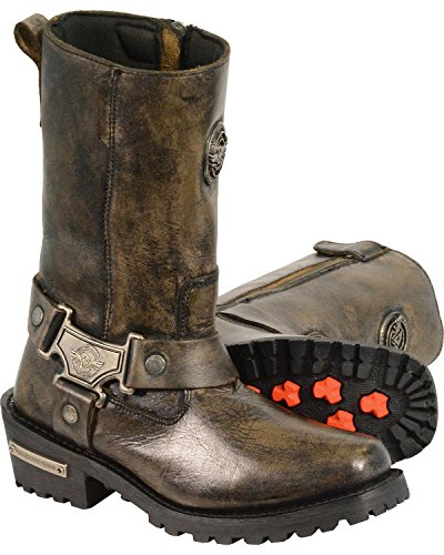 Milwaukee Leather Women's Distressed Classic Harness Boot Square Toe - Mbl9361 Black AsoJd