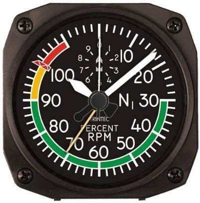 Trintec 2060 Series NV Aviation Percent RPM Airplane Instrument Travel Alarm Clock 3.5 Sq