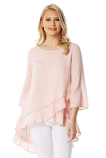 21687cd4c5da51 Roman Originals Women 3/4 Sleeve Lace Dip Back Top - Ladies Casual Holiday  Dipped Hem Flattering Tops Light Long Blouse for Summer Holiday Evening  Special ...