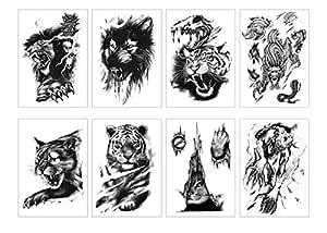 Spestyle - Juego de 8 tatuajes temporales, diseño de animales ...