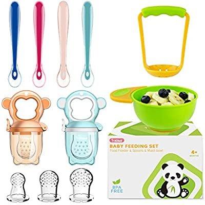Baby Food Feeder Fruit Feeder Pacifier (2 Pack) with 3 Different Sized Silicone Pacifiers, Mash and Serve Bowl with 4 Baby Spoons Silicone Soft-Tip Infant Spoon, Baby First Stage Feeding Set by MICHEF