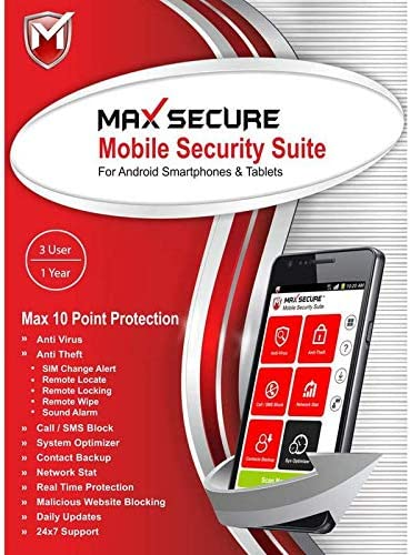 Max Secure Mobile Security Suite for Android 2019 | Total Security | Internet Security | Antivirus | 3 User | 1 Year [PC Online code]
