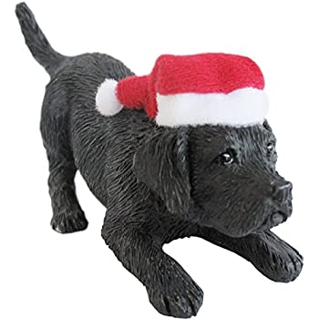 Sandicast Black Labrador Retriever With Santa Hat Christmas Ornament