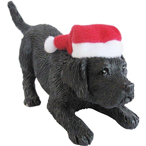 (Sandicast Black Labrador Retriever with Santa Hat Christmas Ornament)