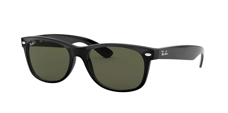 238dcafed Amazon.com: Ray-Ban New Wayfarer Sunglasses (RB2132) Black/Green  Plastic,Nylon - Polarized - 55mm: Clothing