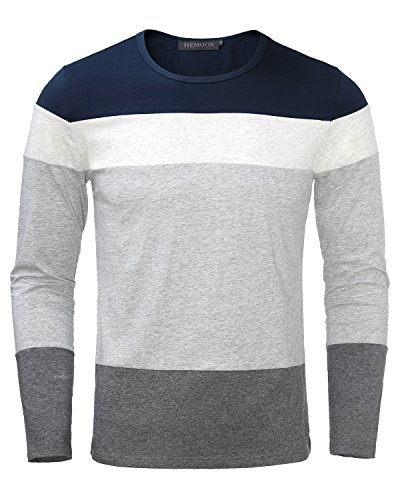 HEMOON+Men%27s+Basic+Knit+Crewneck+Color+Block+Long+Sleeve+T-Shirt+Top+Navy+L