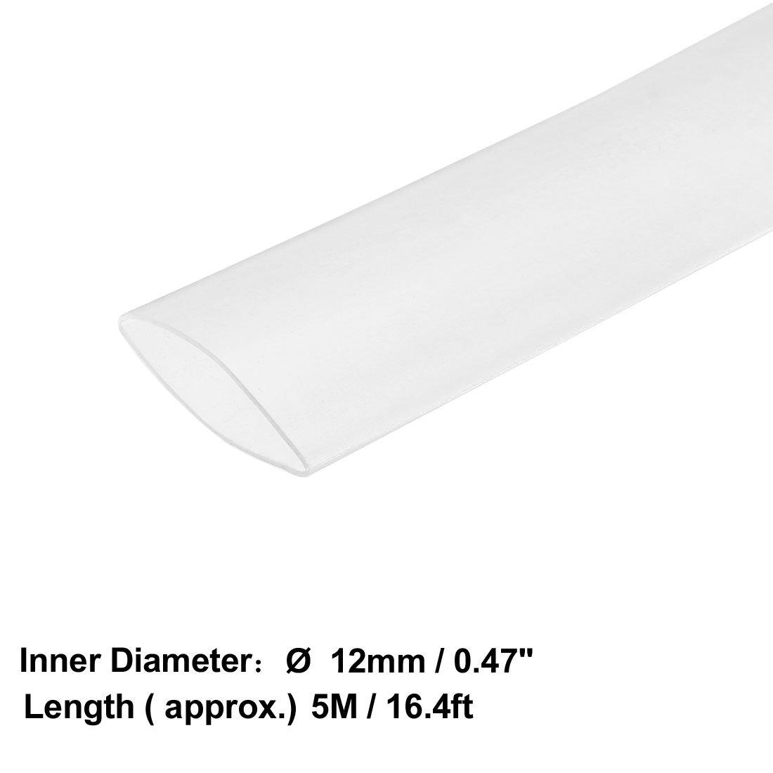 Sourcingmap Tube thermor/étractable 2:1 pour c/âble disolation /électrique Transparent 12 mm Diam/ètre 5 m