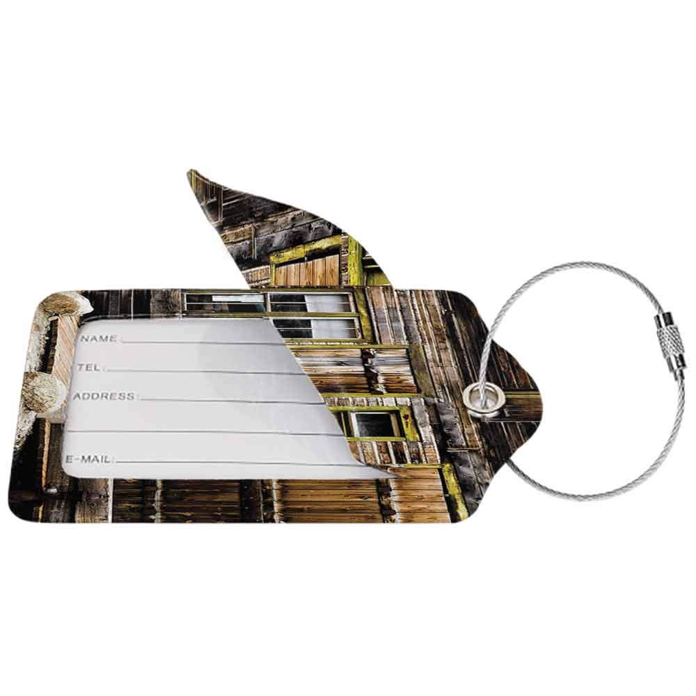 Small luggage tag Rustic Decor Old Wooden Plank House with Antique Door and Windows with Stones on Rocky Street Quickly find the suitcase Brown W2.7 x L4.6