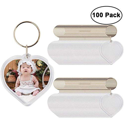 Photo Keychain (100 pcs) - Heart Shaped Acrylic Clear Blank Keyring with Photo Insert - DIY Birthday Wedding Favour Keyring Gifts Acrylic Plastic Photo Blank Snap In Keychains Personalized Picture ()