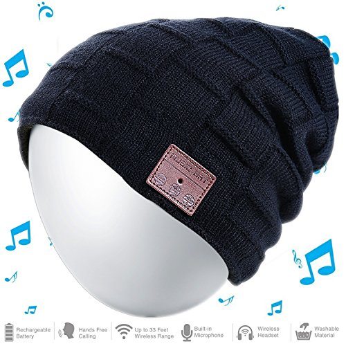 Moretek Bluetooth 4.2 Wireless Musical Headset Beanie for Music Streaming & Hands-Free Calling w/ 5hrs Music Playback, 8Hrs Talk Time, 60Hrs Standby Time Double knitted material. The Bluetooth cap with acrylic and polyester material that ...