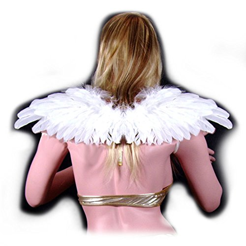 SACAS Beautiful White Feather Angel Wings with Free Halo (Red Marabou Halo)