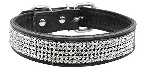 UMS Rhinestones Dog Collar - Bling Soft Genuine Padded Leather Made Sparkly Crystal Diamonds Studded -Perfect for Pet Show & Daily Walking Black 14-18
