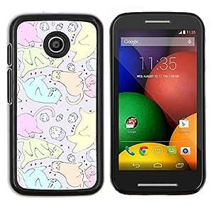 LECELL--Funda protectora / Cubierta / Piel For Motorola Moto E -- Gatos de la magdalena del dibujo del arte colorido --