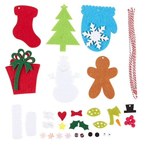 Juvale 6 Pieces Felt Applique Christmas Ornament Kit - DIY Fun for Kids and Adults Alike - Sew or Glue - Includes Christmas Tree, Present, Snowman, Christmas Stocking, Gingerbread Man, -