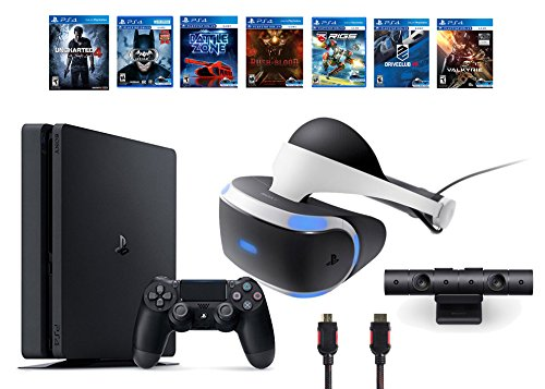 PlayStation-VR-Bundle-9-ItemsVR-HeadsetPlaystation-CameraPS4-Slim-Uncharted-46-VR-Game-Disc-Until-DawnRush-of-Blood-EVEValkyrieBattlezoneBatmanArkham-VR-DriveClubBattlezone