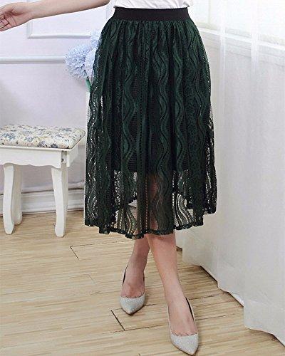 Falda de la manera de la raya del cordón faldas plisadas de las mujeres Verdinegro