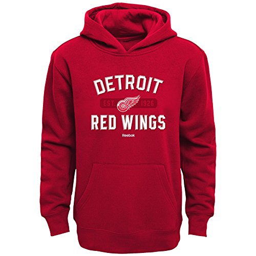 OuterStuff NHL Detroit Red Wings Boys Kids Todays Highlights Fleece Hoodie, Large/(7), Red