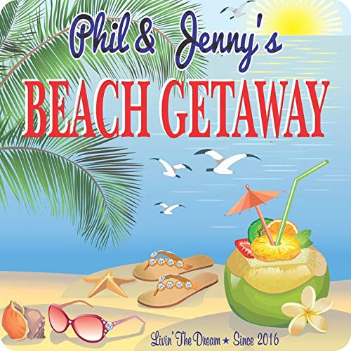 CELYCASY Personalized Beach Getaway Sign with Tropical Drink, Sun, Seashells, Flip Flops and Sea, Custom Name, Gifts, Beach Signs, C1371