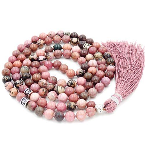 - Gemstone Mala Beads Necklace, Mala Bracelet, Buddha necklace, Hand Knotted Mala (rhodonite)