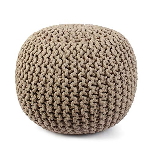 Hand Knitted Cable Style Dori Pouf - Beige- Floor Ottoman - 100% Cotton Braid Cord - Handmade & Hand Stitched - Truly one of a Kind Seating - 20 Dia x 14 High