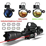 Aipai Ar15 Tactical Rifle Scope 4-12x50EG Dual Illuminated & Red Laser & Holographic 4 Reticle Red and Green Dot Sight for 22&11mm Weaver/Picatinny Rail Mount (12 Month Warranty)