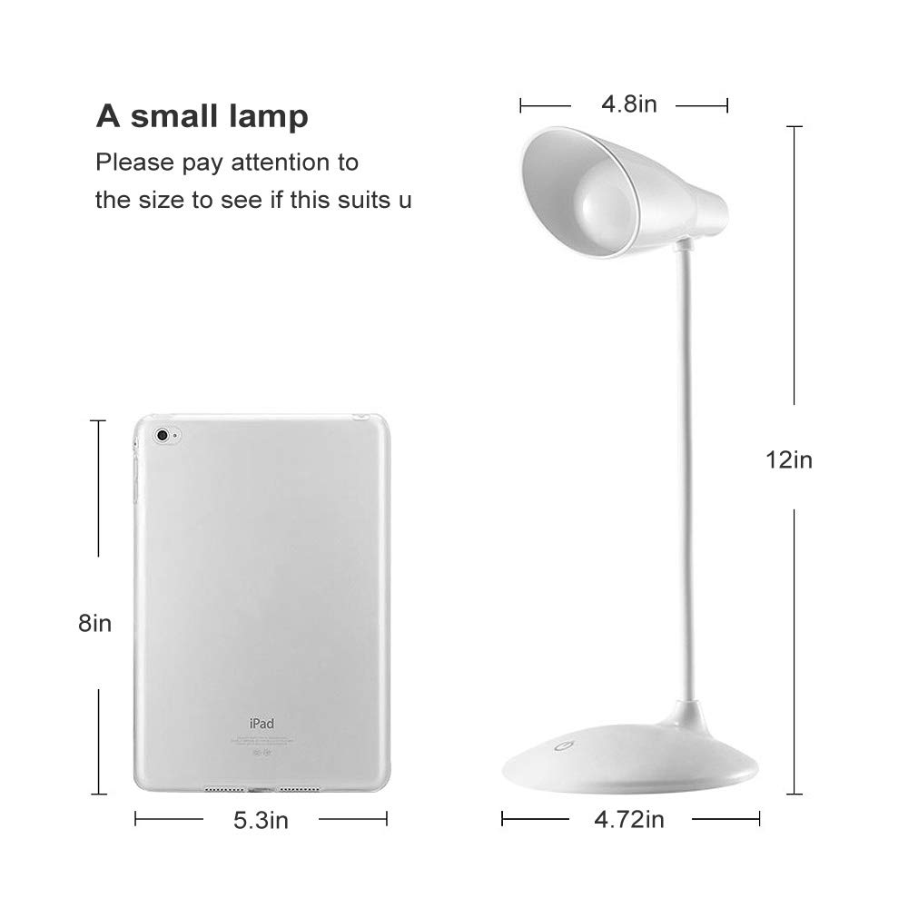 LED Desk Lamp, Flexible Gooseneck Table Lamp, Dimmable Office Reading Lamp with USB Charging Port, Rechargeable, 3 Brightness Levels, White