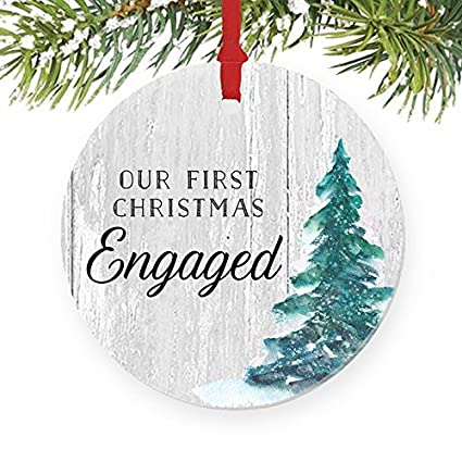 Christmas Tree Ornaments Engagement Gifts Our First Christmas Engaged  Rustic Couple Newlywed Our 1st Xmas Craft - Amazon.com: Christmas Tree Ornaments Engagement Gifts Our First