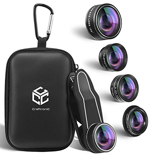 Craftronic Mobile Lens Kit Pro - 5 in 1 Universal Set (UPGRADED) for iPhone, Samsung, 2X Zoom Telephoto + 0.36X Super Wide Angle + 198° Fisheye + 15X Macro + Kaleidoscope Filter with Travel Case ()