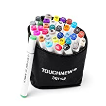 36 Color TOUCHNEW Graphic Drawing Painting Art Dual Tip Sketch Pen Twin Tip Marker Coloring Highlighting Underlining Set + Bag (36 Colors)