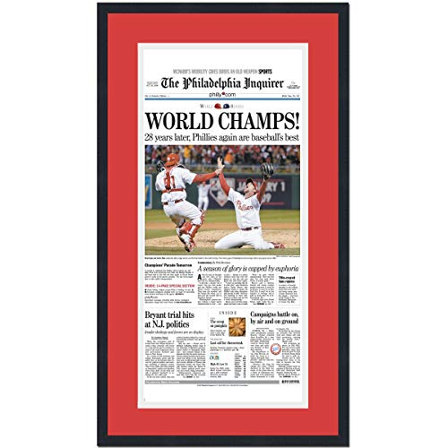(Framed Philadelphia Inquirer World Champs Phillies 2008 World Series Champions 17x27 Baseball Newspaper Cover Photo Professionally Matted)