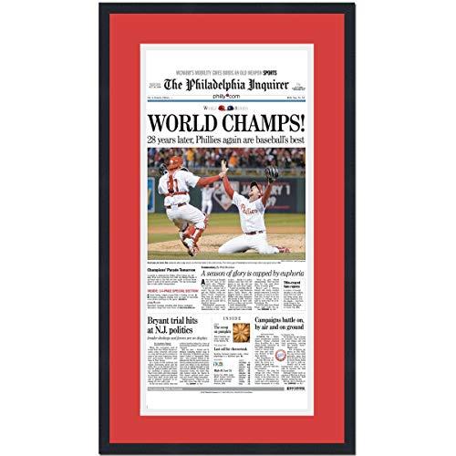 Framed Philadelphia Inquirer World Champs Phillies 2008 World Series Champions 17x27 Baseball Newspaper Cover Photo Professionally Matted (Phillies Series Philadelphia)