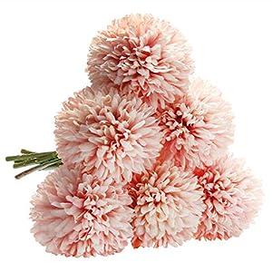 CQURE Artificial Flowers, Fake Flowers Silk Plastic Artificial Hydrangea 6 Heads Bridal Wedding Bouquet for Home Garden Party Wedding Decoration 6Pcs (Pink Champagne) 4