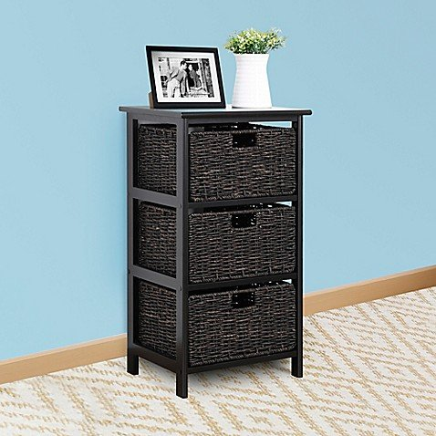 Easy Home Foldable 3-Drawer Chest in Black